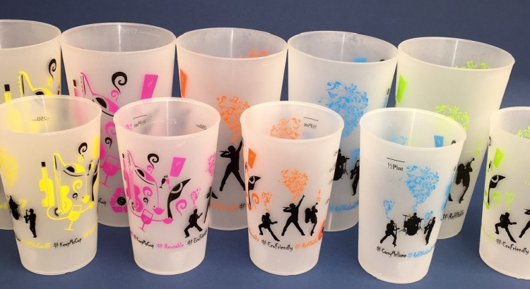 A selection of resusable plastic cups