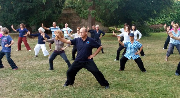Nineteen men and women of various ages practice tai chi in a park beneath yew trees. They are following a teacher and all standing wide-legged with their right arms raised and left hands on their hips.